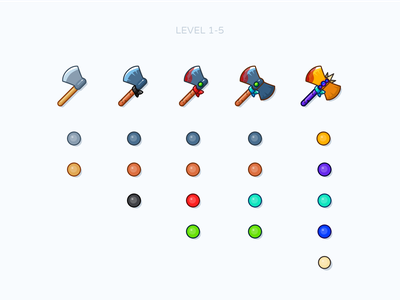 Ax levels vector art achievement game level warrior fury blood iron axe gold wood figma sketch art draw illustration icon vector