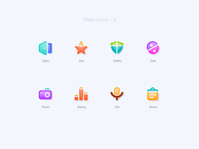 Glass icons   3 icon design notes mic rating photo sale safety star open figmadesign figma pack set icons