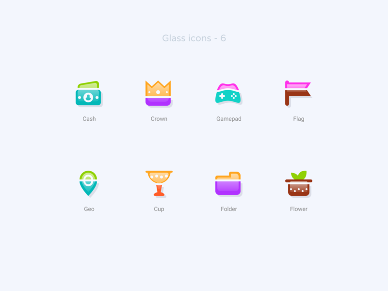 Glass icons   6 gamepad cash cup geo flower folder freebie free figma crown icon design icon