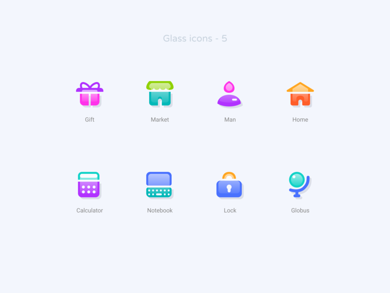 Glass icons   5 freebie download demo free svg calculator notebook lock globus home man gift market ui figma icondesign icons