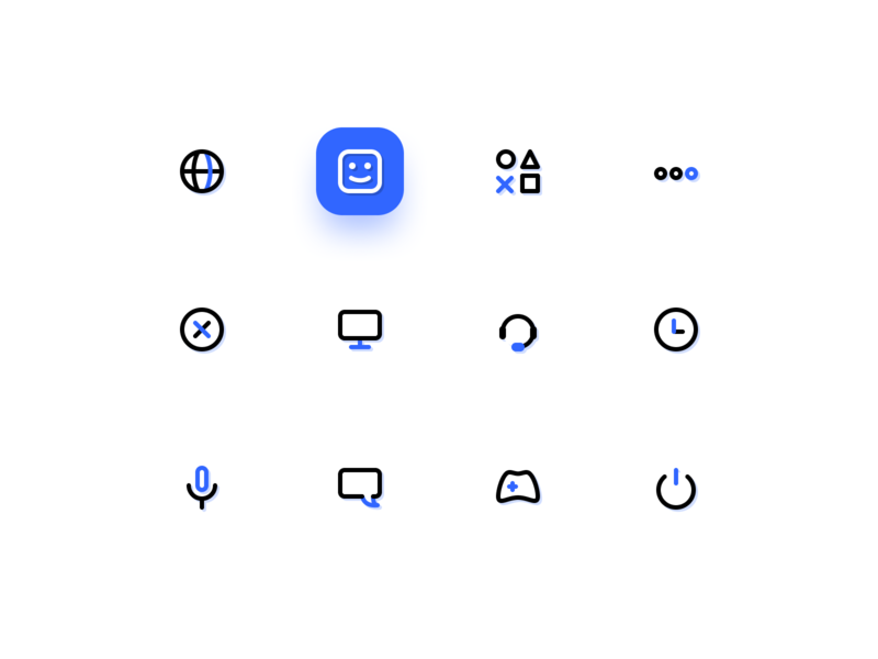 PS 5 icons set blue outline photoshop console game set style pattern color figma design ui icons ps5 ps playstation5 playstation
