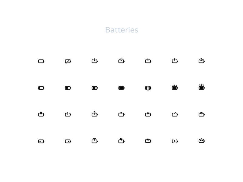 How many battery icons do you know? charge icongraphy design ui figma state empty full economy progress setup power bar energy pack iconset set icons battery