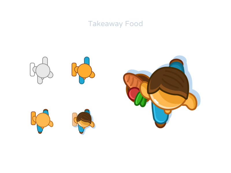 Takeaway food go takeaway man figmadesign hand draw design restaurant cafe order food