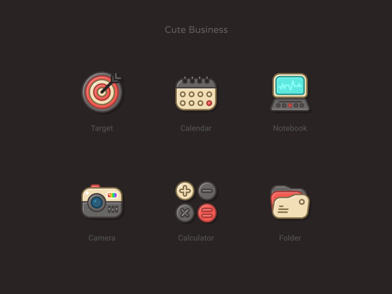 Cute Business - Dark version icon design iconography icon set setup iconset business cute icons
