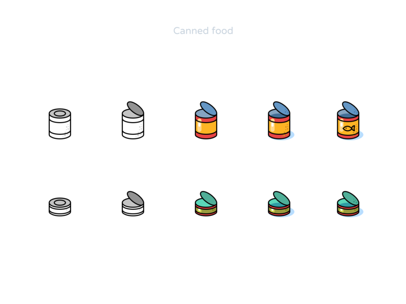 Canned food icons - process figmadesign fish food canned style vector icon