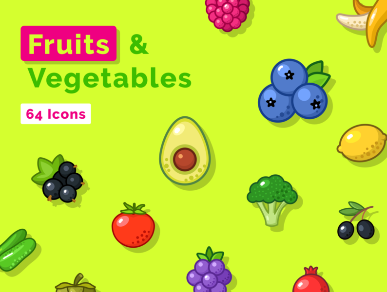 Great Fruits and Vegetables Icon Set berry food figmadesign adobexd sketch vector figma vegetable fruit iconset icons download freebie free