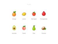 Fruits coconut pear peach avocado pomegrade redapple lemon orange freebie free set icons fruits