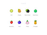 Fruits  2 pineapple pitaya plum strawberry waterlemon blackcurrant papaya kiwi freebie free figma set icons fruits