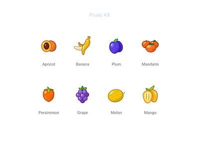 Fruits  3 mango melon grape persimmon plum banana apricot freebie free figma set icons fruits