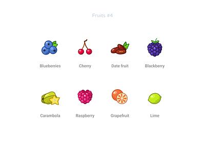 Fruits  4 blueberries cherry datefruit blackberry carambola raspberry grapefruit lime freebie free figma set icons fruits