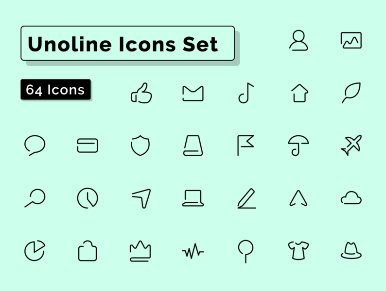 Unoline Icons Set - Complete freebie demo free figmadesign pictogram symbol one line vector outline stroke figma sketch