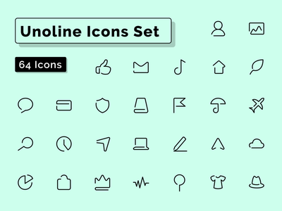 Unoline Icons Set - Complete freebie demo free figmadesign pictogram symbol one line vector outline stroke figma sketch