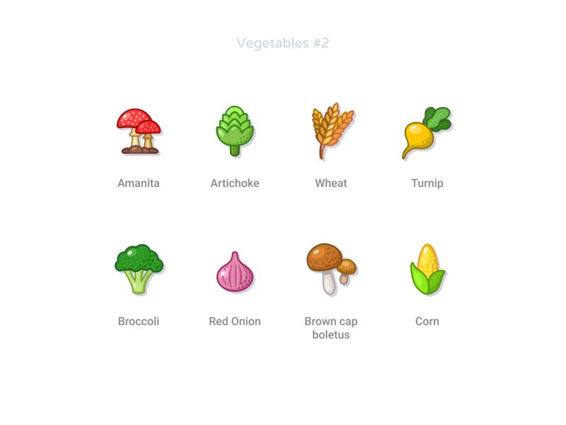 Vegetables #2 brown cap boletus red onion broccoli corn turnip wheat artichoke amanita free figmadesign svg vector icons vegetables