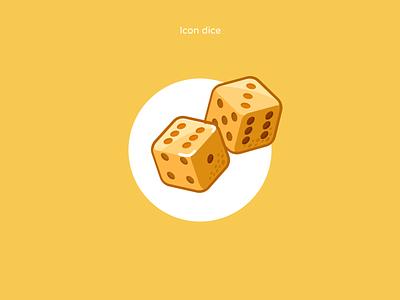 Icon dice icon design casino excitement focus style figmadesign iconography design game cube bones cute color yellow ma dice icon