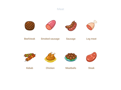 Meat icons meatball leg kebab beefsteak chicken meat vector outline cartoon figmadesign figma icons