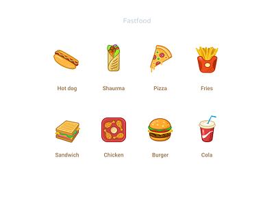 Fastfood icons fast cartoon icondesign ui figmadesign cola burger chicken sandwich fries shaurma pizza hotdog food icons