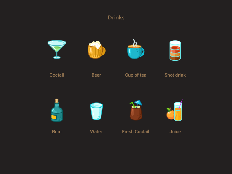 Drinks icons icons set juice fresh water rum drink shot tea cup beer coctail figmadesign cartoon drinks icons