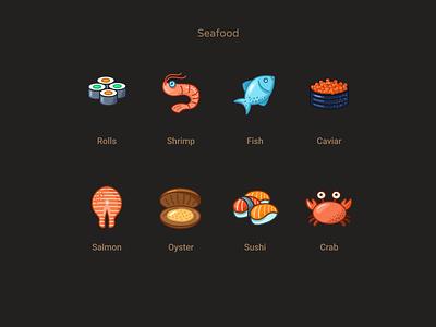 Seafood icons icons design crab sushi oyster salmon caviar fish shrimp rolls figmadesign icons set food seafood icons