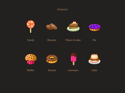 Dessert iconset freebie icecream donuts muffin biscuits cake vector cartoon candy pie icons design figmadesign dessert food icons free
