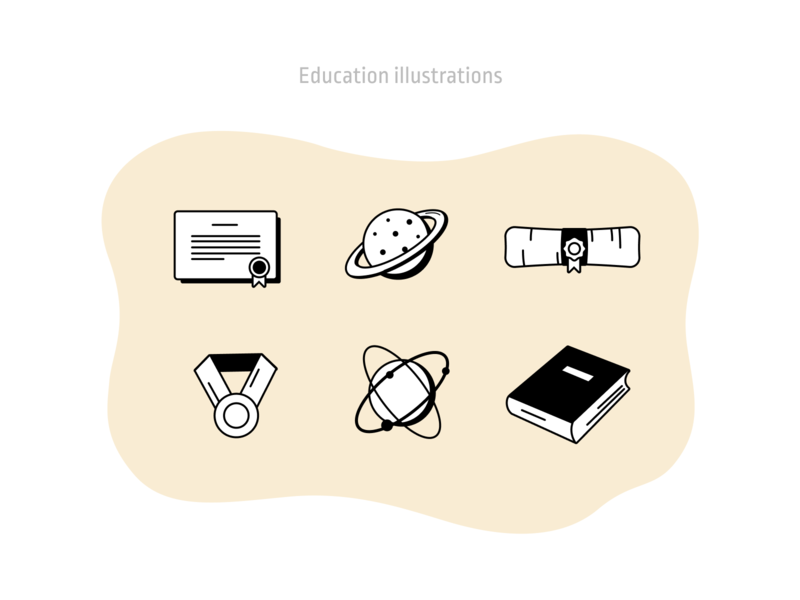 Education illustrations work in progress student courses online retro outline vector figmadesign inspiration college school education