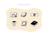 Education illustrations retro outline vector figmadesign inspiration college school education