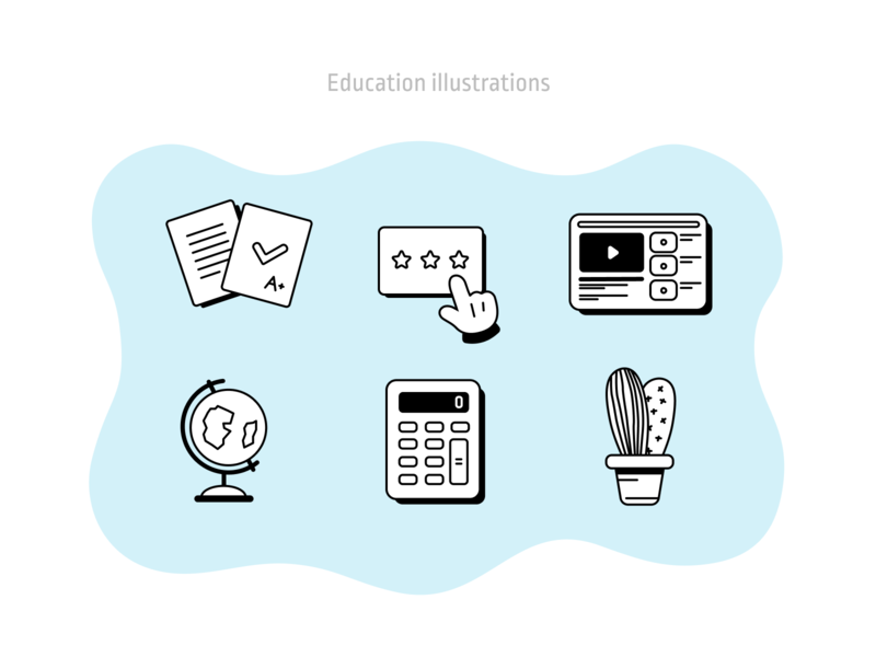 Education illustrations  2 icon vector ui design illustration icon design retro sketch figma app learning education figmadesign illustraion icons