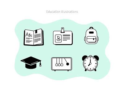 Education illustrations  3 vector icons learning work student school education college illustration figmadesign