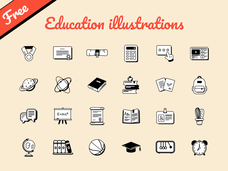 Free Education illustrations school language student app academy course learning vector sketch figma figmadesign freebies pack icons illustration education freebie free