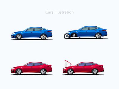 Cars illustration design ui sketch figma vector illustration k5 kia trouble engine check crash tires avto auto car