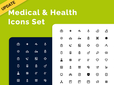 Medical & Health Icons Set - updated! hospital figma icondesign iconography heartbeat life virus doctor sport fitness green heathcare health medical app medical icons