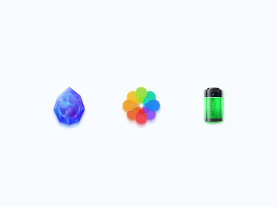 Skeuomorphic icons flower pictures galery ac power battery geometric crystal gem ui app icon sketch vector figma icons