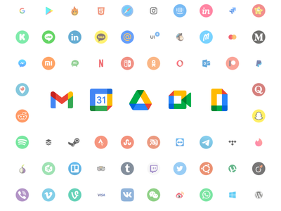 New Free Social Icons vector icon set ui freebie resourse figma sketch svg logos new google brands icons social free