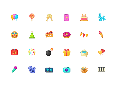 Mega Party Icons ui icon figma cartoon icons design icons set packaging mega cards birthday xmas weekend resourse party icons