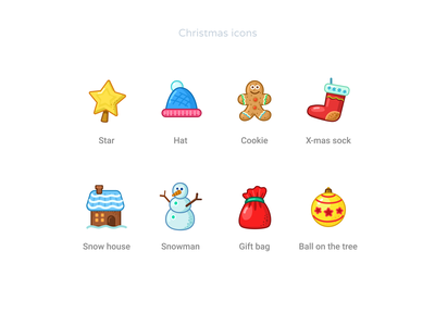 Free - Christmas Icons Pack gift cookie snow sketch figma freebies free new year party holliday christmas x-mas