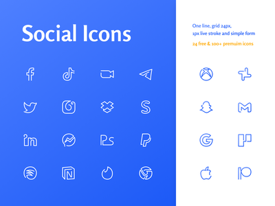 Free Social Oneline Icons spotify dropbox instagram tiktok twitter facebook clean simple minimal stroke outline one page svg sketch figma icons social free