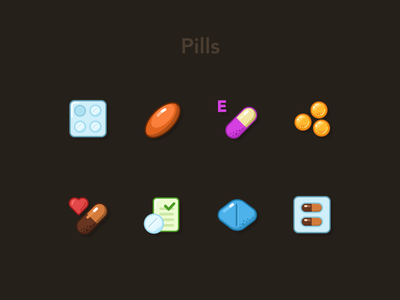 Pills & Tablets Icons Set #2 bio supplements icondesign icons figma vitamins medical drug clinic heart viagra tablets health pharmacy soft gel capsule pills