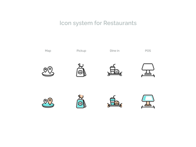 Icon system for Restaurants icons system design outline stroke hand in figma notify pickup dine print pos terminal order app food symbol iconography