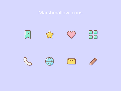 Marshmallow icons essentials glass lines design style cartoon svg unicorn icons