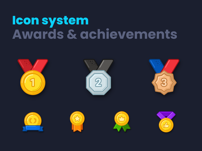 Awards & achievements icon system icons pack icons design template icons set place gold badges design awards system achievements medal ribbon icons figma