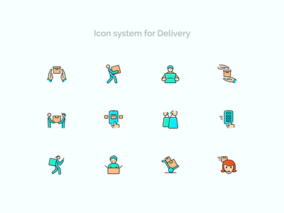 Icon system for Delivery courier logistic shipping box parcel shipping delivery outline icon lineicons iconography icondesigner icons