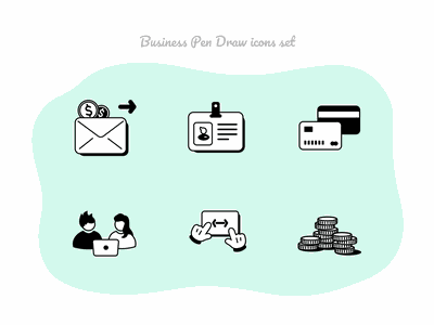 Business Pen Draw icons set #2 card business card meetup learning business office essentials money work illustration figmadesign free vector icons