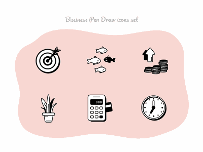Business Pen Draw icons set #5 card payment atm coins money fish calculator figmadesign icnoset icons aloe time target finance business