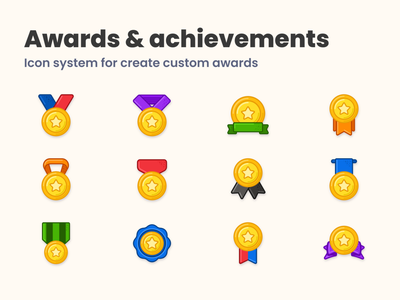 My Medal badges collection icons pack ribbons bronze gold award icon design winner star icondesign iconography achievement badges medal icons