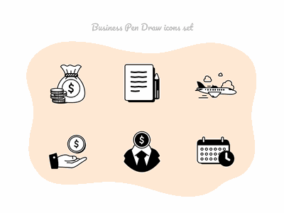 Business Pen Draw icons set #6 figmadesign icons pack notes icons set banking finance jet air money office drawingart pencil hand drawn hand business icons