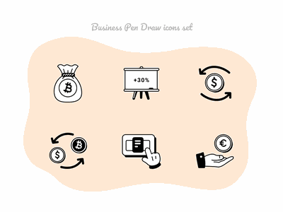 Business Pen Draw icons set #10 finance eur btc usd currency change payment cash money figmadesign icons