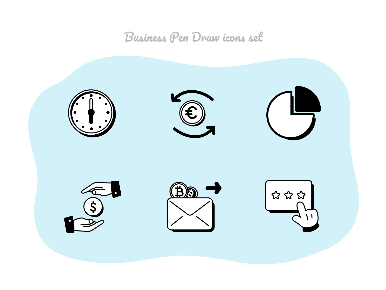 Business Pen Draw icons set #14 bankingapp work time hands glyphs pictograms iconset banking sendmoney rating money business stock icons
