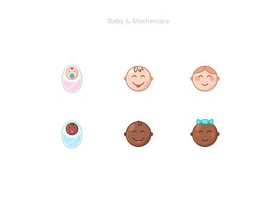Babys & Mothercare icons set mothercare icons icons set iconpack iconset icondesigner figmadesign baby girl boy newborn birthday child iconography infant icondesign