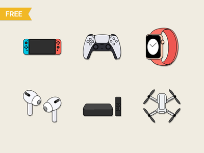 Free Tech & Electronic Technology icons electronic sketch vector figma watch imac iphone nintendo apple future technology tech devices iconpack iconset icons freeicons freebie free