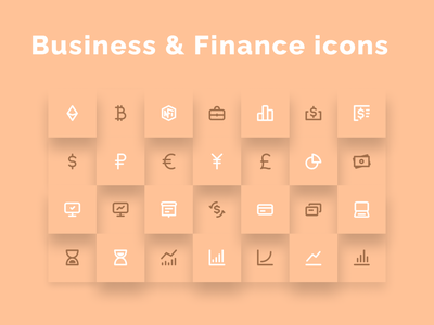 Business & Finance Icons Set - updated! set graphics iconography icondesign token crypto exchange stock market stocks monitoring yen euro usd money eth nft crypto finance icons business