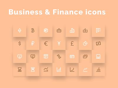 Business & Finance Icons Set - updated! set graphics iconography icondesign token crypto exchange stock market stocks monitoring yen euro usd money eth nft crypto finance icons business